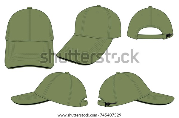 d47fee903a586f Olive Green Baseball Cap Template Stock Vector (Royalty Free) 745407529
