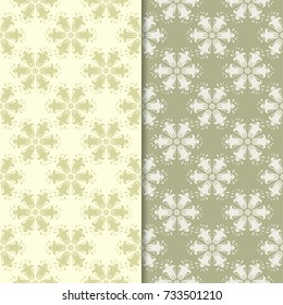 Olive green and beige floral backgrounds. Set of seamless patterns for textile and wallpapers