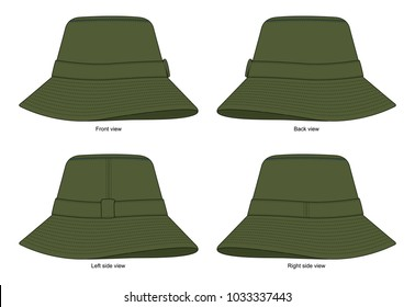 b15d11ac805591 Olive green bucket hat collection for template(Front,Back and side view)