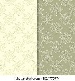 Olive green floral backgrounds. Set of seamless patterns for textile and wallpapers