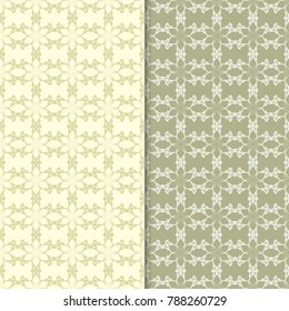 Olive green floral backgrounds. Set of seamless patterns