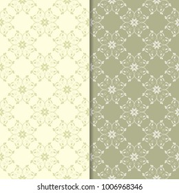 Olive green floral designs. Set of seamless patterns for textile and wallpapers