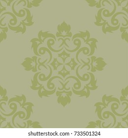 Olive green floral ornament. Seamless pattern for textile and wallpapers