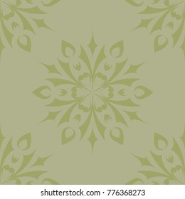 Olive green floral ornamental design. Seamless pattern for textile and wallpapers