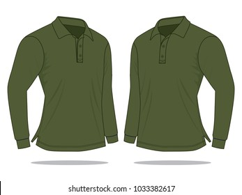 Olive green long sleeve polo shirt  neck collar : Perspective view