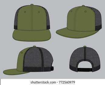 Olive green net hip hop hat & snap back (Front,back and side views)