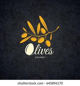 Olive label, logo design. Olive branch