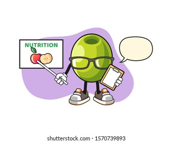 Olive nutritionist with speech bubble cartoon. Mascot Character vector.