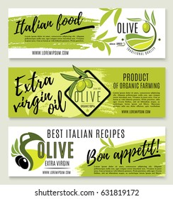 Olive oil banner template set. Green olive branch with fruit and organic olive oil jug symbols for italian food recipe, mediterranean cuisine restaurant menu flyer design