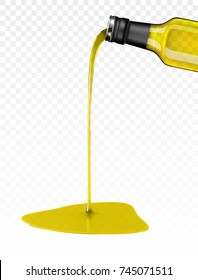olive oil being poured from glass bottle