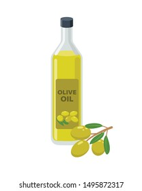 Olive oil bottle and olives on branch in flat design vector illustration isolated on white background. Olive oil icon.