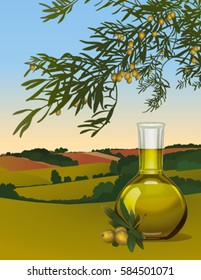 olive oil in a bottle on the background of a country landscape