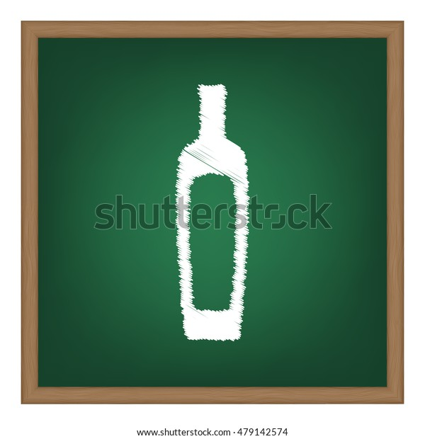 Olive oil bottle sign. White chalk effect on green school board.