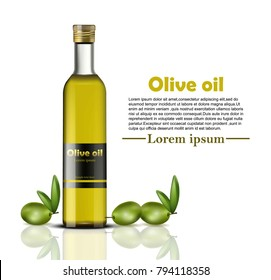 Olive oil bottle Vector realistic. food identity branding, packaging design. Healthy cold pressed organic product, natural vegan product