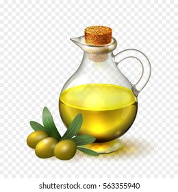 Olive oil in a glass bottle with handle and corck and olives with green leaves, realistic vector illustration on transparent background