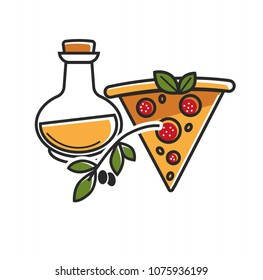 Olive oil of high quality and delicious pizza from Italy