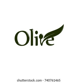Olive oil label, organic product. Vector olive branch with leaf and drupe, vector logo