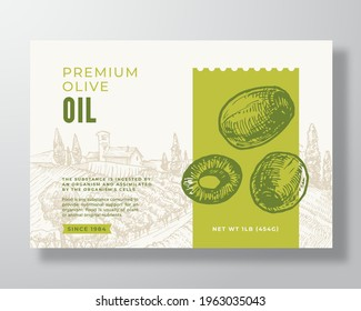 Olive Oil Label Template. Abstract Vector Packaging Design Layout. Modern Typography Banner with Hand Drawn Green Olives and Rural Landscape Background. Isolated.