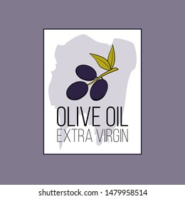 olive oil logo in cartoon style. Vector illustration for design, web and decor for the festival of olives.
