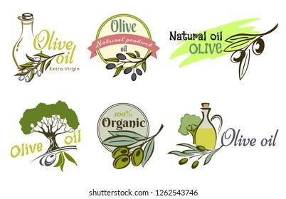 Olive oil logo labels and design elements.