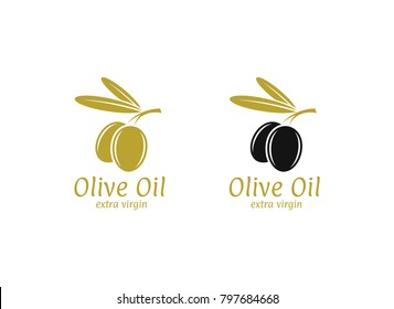 Olive oil. Logo. Vector illustration. Black and green olives on white background