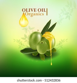 Olive oil organics collagen serum. Beauty Concept Skin Care Cosmetic.Background Vector Concept with gold drop of water , olive and leaves in green background