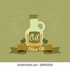 olive oil over green olive background vector illustration