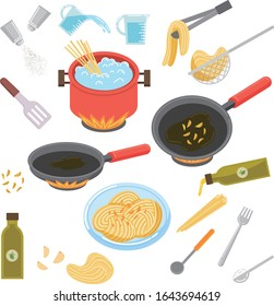 Olive oil pasta, kitchenware illustration set Italian cooking utensils and kitchen appliance vector drawing