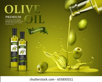 olive oil ad and olive oil pouring down, 3d illustration