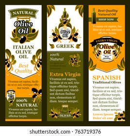 Olive oil product banners templates of green olive branches and drops for Italian extra virgin cooking organic oil labels. Vector black olive leaf branches and drops for bottle and olive jars design