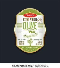 Olive oil retro vintage background label