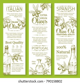 Olive oil sketch banners of green and black olives for extra virgin product bottle packing label design template. Best quality organic vector Portugal ot Italy and Spain cooking oil