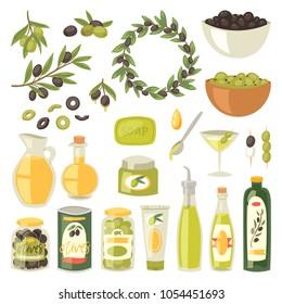 Olive oil vector bottle with virgin olivaceous ingredients for vegetarian food illustration set of olivebranch or olivet for wreath isolated on white background