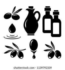 Olive set. Black silhouettes. Vector illustration