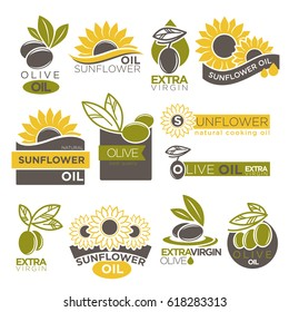 Olive and sunflower oil extra virgin flat logotype on white.