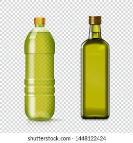 Olive or sunflower oil glass and plastic bottles Isolated realistic set