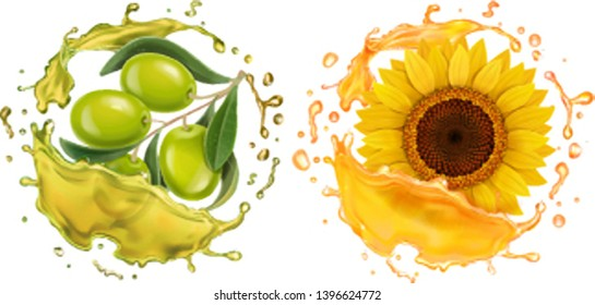 Olive and sunflower in oil realistic splashes