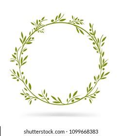 Olive tree border. Vector element. EPS10.