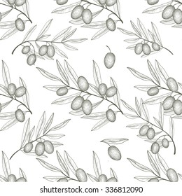 Olive tree branch with olives isolated sketch over white background Retro olive branch engraving seamless pattern Vector illustration Food ingredient texture