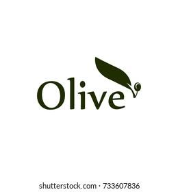 Olive tree leaf, branch and fruit vector logo. Olives oil sign