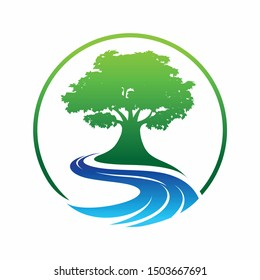 olive tree logo designs with creeks or rivers symbol