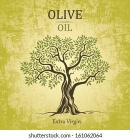 Olive tree on vintage paper. Olive oil. Vector  olive tree. For labels, pack.