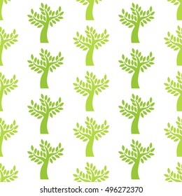 Olive trees seamless pattern. Vector illustration