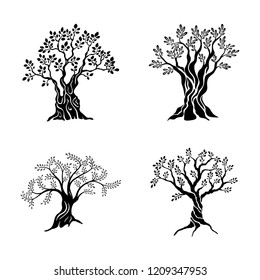 Olive trees silhouette icon set isolated on white background. Oil vector sign. Premium quality illustration logo design concept pictogram.
