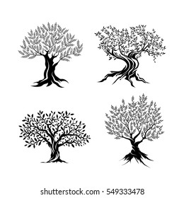 Olive trees silhouette icon set isolated on white background. Web infographic modern vector sign. Premium quality illustration logo design concept pictogram.