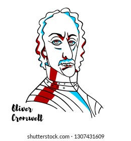 Oliver Cromwell engraved vector portrait with ink contours. English military and political leader.