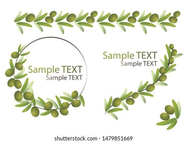 Olives branches and olive crown. Greek olives branch and wreath set. Floral elements set. Vector collection includes floral frames, border. drawn elements for invitations, templates, greetings cards.