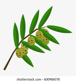 Olives character. Funny doodle cartoon fruit. Isolated on white background. Flat vector stock illustration