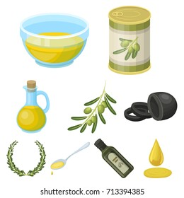 Olives, tree, branch and other products from olives.Olives set collection icons in cartoon style vector symbol stock illustration web.