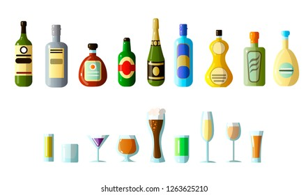 ollection of different alcoholic beverages in bottles with glasses of different shapes. Vodka, champagne, wine, whiskey, beer, brandy, tequila, cognac, liqueur, vermouth, gin, rum, absinthe, sambuca